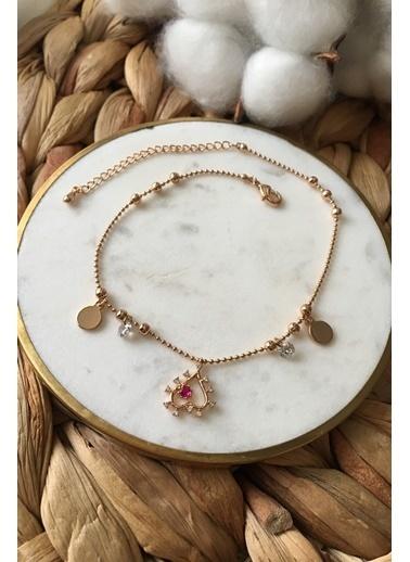 My Joyas Design Pembe Taşlı Kalp Halhal Altın